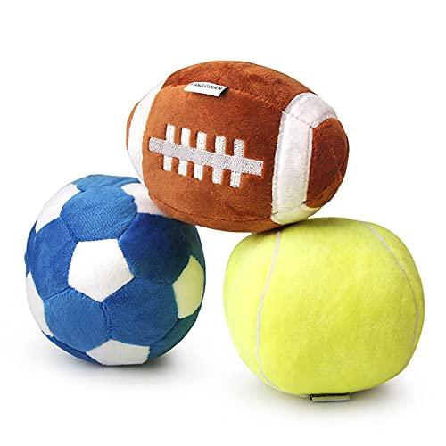 Hundespielzeug für mittlere Hunde,Welpen Spielzeug für kleine Hunde,Rugby Ball, Fußball und Tennisbälle für Hunde, gefüllt mit flauschigem Quietsch-Hundespielzeug, Welpenspielzeug für draußen