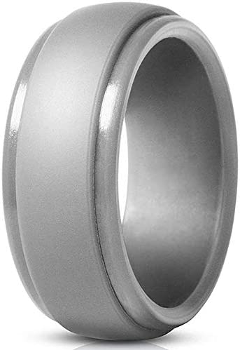 Jude Jewelers 8mm Matte Brushed Step Edge Silicone Wedding Band Ring Silver 14 product image