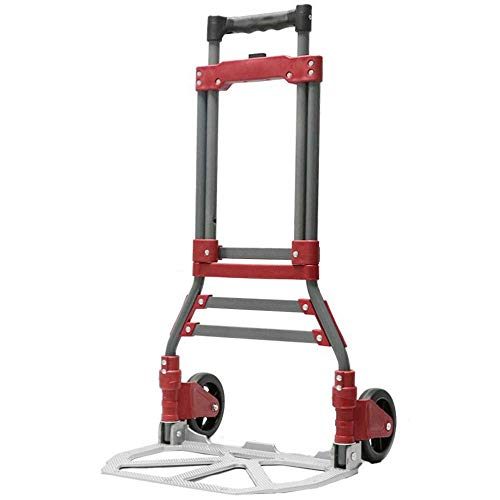 Aluminum Alloy Foldable Foldable Shopping Trolley Bag on Wheels With Anti Puncture Rubber Wheels and 90 kg Capacity,Red Grocery Trolley with Wheels for Luggage Transport Camping Picnic Travel Shoppin