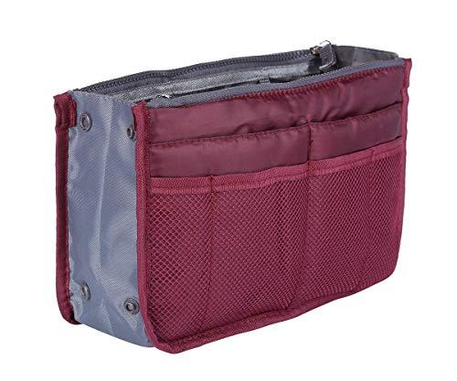Purse Organizer Insert Handbag,Lady Women Travel Liner Felt Bag in Bag (13 Pockets Medium Size) (Red Wine)