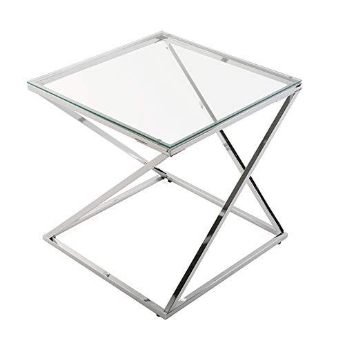 Versa 18790431 Mesa Auxiliar para el Salón, la Habitación o la Cocina Moderna Mesilla Baja de Cristal Cuadrada, Metal, Plateado, 51 x 51 x 51 cm