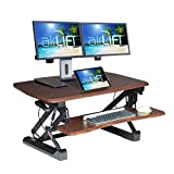 Seville Classics airLIFT Height Adjustable Stand Up Desk Converter/Riser - Keyboard Tray, Dual Monitors, Quick Lift Levers Ergonomic Table, Full (36'), Walnut
