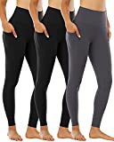 CHRLEISURE Leggings for Women with Pockets, High Waisted Tummy Control Workout Yoga Pants 3 Pack 2Black1Gray S