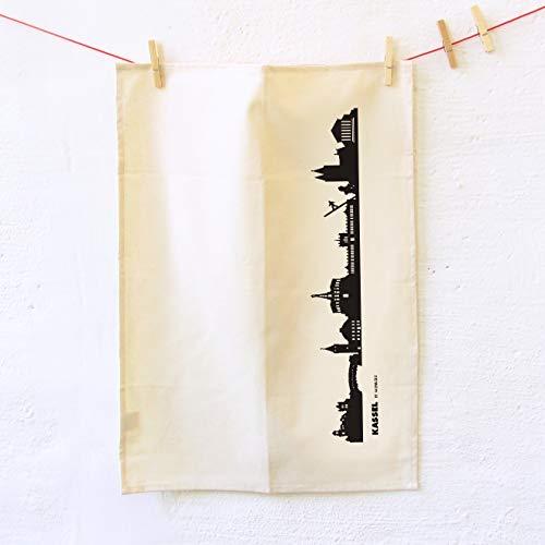 44spaces Kassel Skyline Küchentücher Stadt Design schwarz, 50x70 cm - 100% Reine Baumwolle (Bio), Geschirrtücher für Ex-Kassler & Documenta Fans, Geschenkidee Geburtstag Grill-Saison Mitbringsel