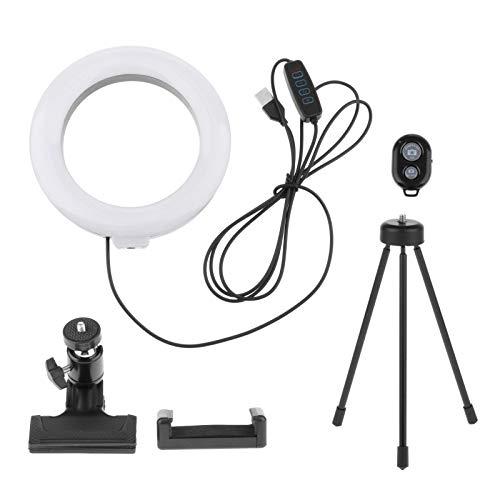 Blesiya Anillo de luz para selfie, de 6 pulgadas, mini LED, para transmisión en directo, Bluetooth remoto