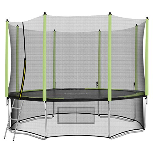 AOKCOS 12ft Trampoline with Safety Enclosure, Outdoor Trampoline for Kids, Jump Recreational for Family, RT366001PG