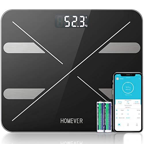Bilancia Pesa Persona Digitale, Approvato dalla FDA, Homever Professionale Bluetooth Bilancia Pesapersone, Inteligente BMI, Analizzatore di Composizione Corporea con APP, 400lb