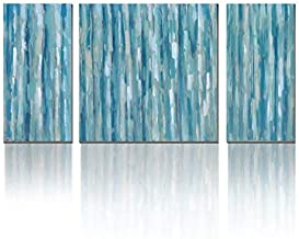 3Hdeko - Teal Abstract Wall Art Aqua Blue Stripes Painting Print on Canvas - Modern 3 Pieces Turquoise Wall Decor for Living Room Bedroom Dining Room Bathroom, Ready to Hang (Renewed)