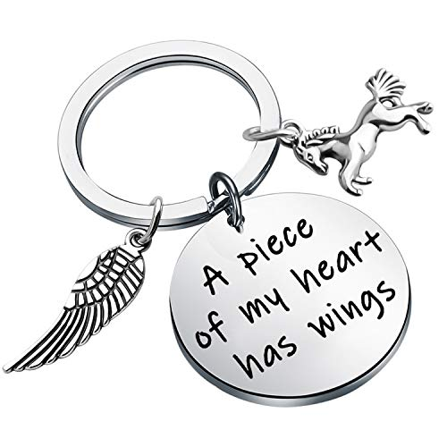 POTIY Horse Memory Gift in Memory of Horse Jewelry A Piece of My Heart Has Wings Pet Pony Mourning Loss Keychain Sympathy Gift Horse Memory Keepsake (Keychain)
