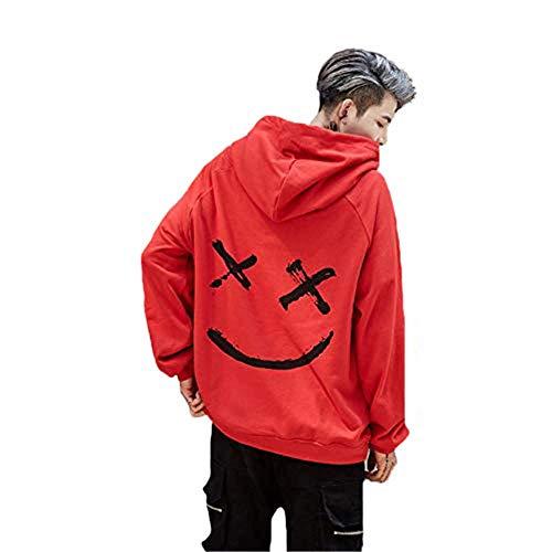 Springcmy Hombres Hip Hop Oversize Sudaderas Sudaderas Sonrisa Cara Impresión Colorblock Streetwear Pullover Coat Tops (Naranja, M)