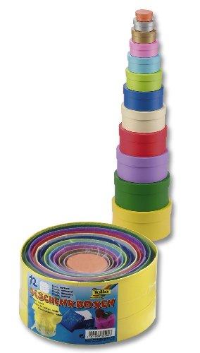 Folia 3209  - Cajas de regalo hechas de cartón redonda, color, 12 piezas de diferentes...