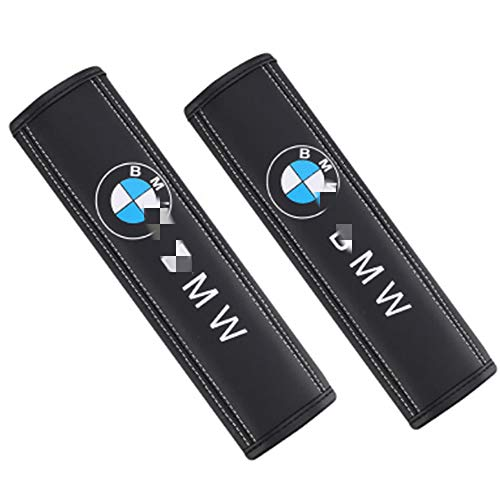 Lxxzz Car Seat Belt Cover Shoulder Pads, 2-Pack 9 inch, Suitable for BMW Genuine Leather Protection Shoulders Comfort Padding Guard Safety Clip,(Black)