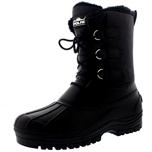POLAR Mens Muck Lace Up Short Nylon Winter Snow Rain Lace Up Casual Duck Boots - 14 - BLK47 YC0141