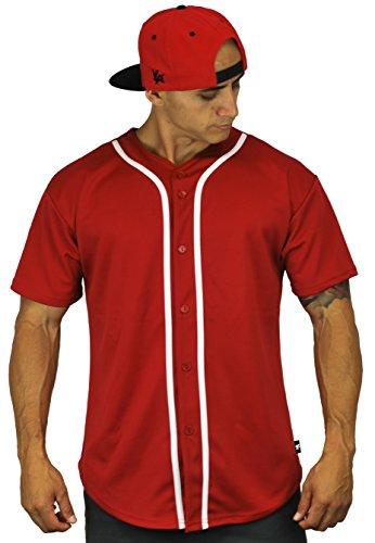 YoungLA Men's Baseball Jersey T-Shirts Plain Button Down 303 Red M