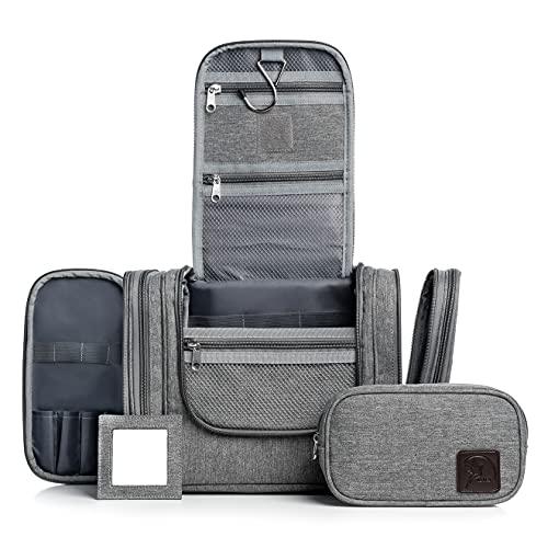Obics Kulturbeutel XXL grau Kulturtasche groß für Damen und Herren mit Seitentaschen 8 Liter Volumen für große Reisen Waschtasche Set doppel Reißverschluss mit Haken zum aufhängen 10 großen Fächer