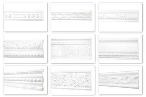 HEXIM Perfect Perfil plano de 2 metros, gran selección, serie 2 (AC267-127 x 42 mm), de poliuretano estampado, color blanco, resistente a los golpes, listón plano decorativo para pared