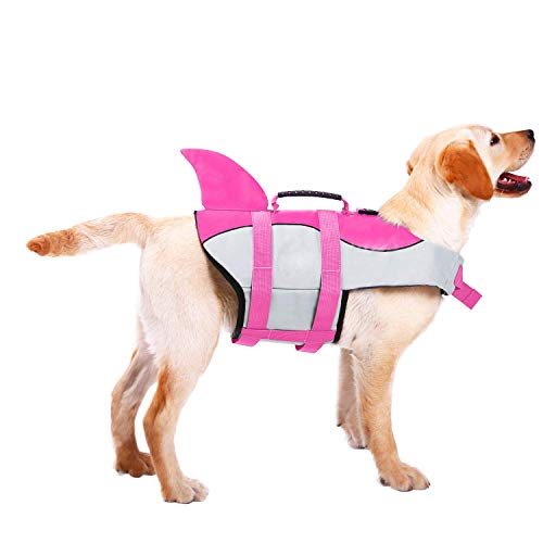 ASENKU Dog Life Jacket Ripstop Pet Floatation Vest Saver Swimsuit Preserver for Water Safety at The Pool, Beach, Boating (S, Shark Pink)