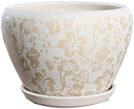 CHENTAOCS Flower pots, creative flower pots, flower pots with drain holes, ceramic pots with trays. (white)