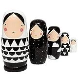 Healifty Muñecas rusas para niños, nido, color blanco y negro, bonitas matrioska, para...