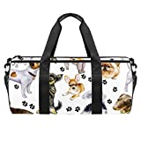 AISSO Duffel Bag for Women Men Bulldog Doggy With Footprints Sports Gym Tote Bag Weekend Overnight Travel Bag Outdoor Luggage Handbag