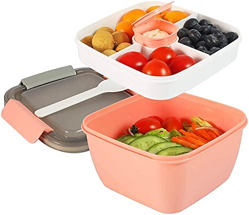 TTBAODAN Fiambrera Bento Box de 1400 ml, ensaladera de 150 ml, con 3 compartimentos, recipiente para ensalada para niños y adultos, a prueba de fugas, apta para microondas, sin BPA, color rosa