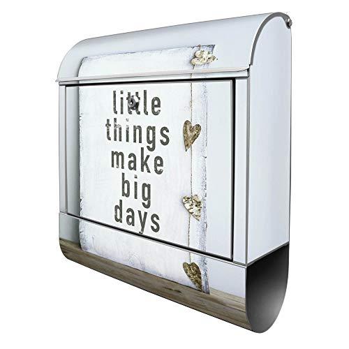 Banjado Design Briefkasten mit Motiv Little Things   Stahl pulverbeschichtet mit Zeitungsrolle   Größe 39x47x14cm, 2 Schlüssel, A4 Einwurf, inkl. Montagematerial