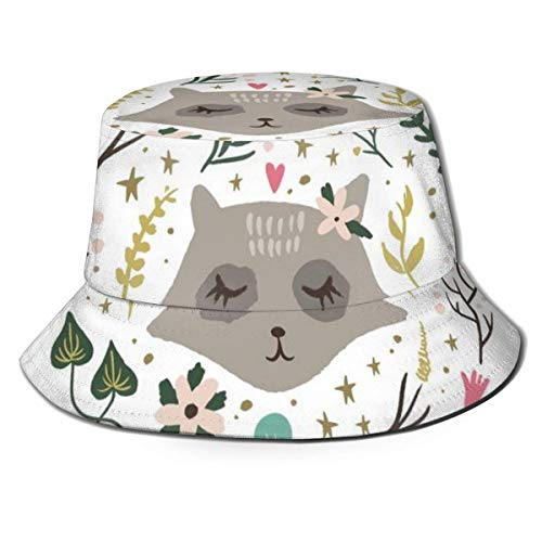 Preisvergleich Produktbild YoungbG Sonnenhut-UV-Schutz Wandern & Gartenarbeit / Gartenhut Woodland Nursery Raccoon Print Girl Nette Kunst Metallic