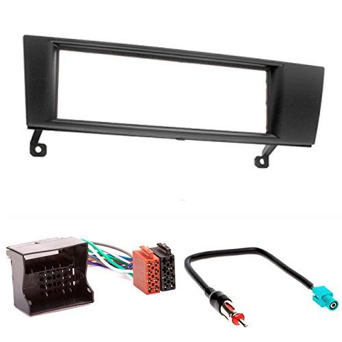 CARAV 11-052-4-7 Façade d'autoradio Car DIN Set for 3 (E90/E91/E92/E93) ; 1 Series (E87/E81/E82/E88); X1 (E84); Z4 (E89) + Adaptateur ISO and Antenna Cable