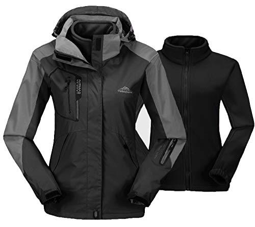 TBMPOY Women's Outdoor 3-in-1 Waterproof Ski Jacket Fleece Inner Winter Coat with Detachable Hood(Black,us M)
