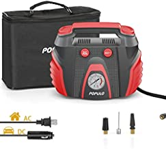 POPULO Car Tire Pump, AC/DC Portable Air Compressor Pump for Car (12V DC) and Home (120V AC), Car Tire Inflator with Pressure Gauge for Bike, Motorcycle, Ball and Other Inflatables