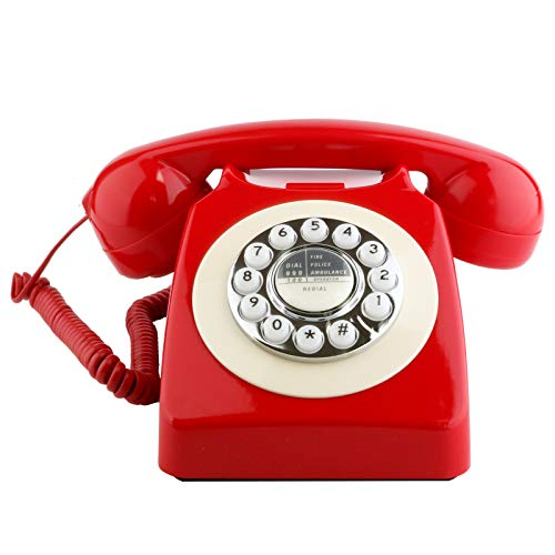 Sangyn Retro Landline Telephone Classic Rotary Design Old Fashioned Corded Desk Phone with Metal Bell for Home and Office,Red