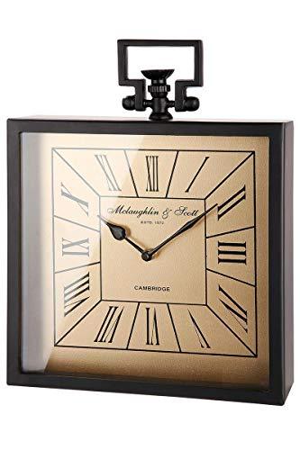 GILDE Reloj cuadrado negro mate, esfera dorada, altura de 35 cm, 41362