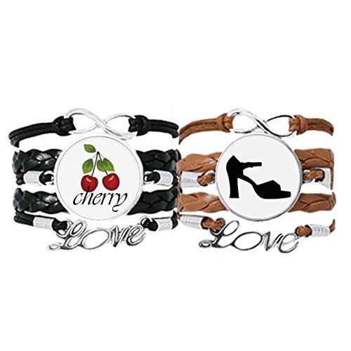 Bestchong Conjunto doble de pulseras de tacón alto con patrón negro correa de mano cuerda de cuero cereza amor pulsera