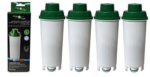 4X FilterLogic CFL950B compatibel waterfilter voor Delonghi SER3017 Espresso koffiezetapparaat DLSC002 past Esam 6900, ECAM350.75.S Magnifica, ECAM 350.15.B Dinamica, ECAM44.620.S - ECAM,ETAM-serie
