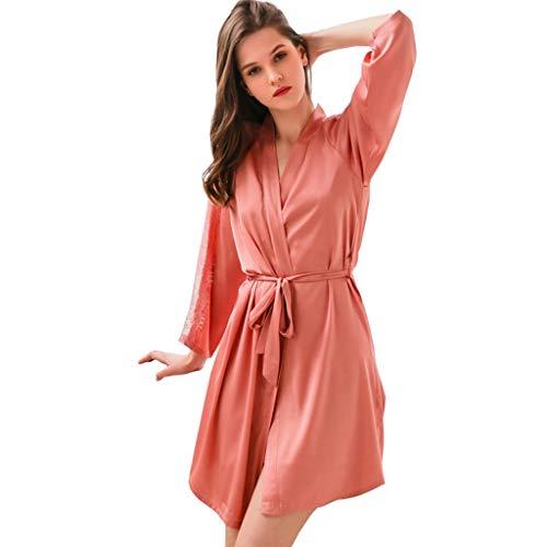 Nachtjapon Women's Short Kimono Robe Zijden Kamerjas Satin Nachtkleding Pyjama Badjas Pyjama Badjassen Nachtjapon Dames Badjas Lange Mouwen Home Service (Color : Withered rose, Size : M)