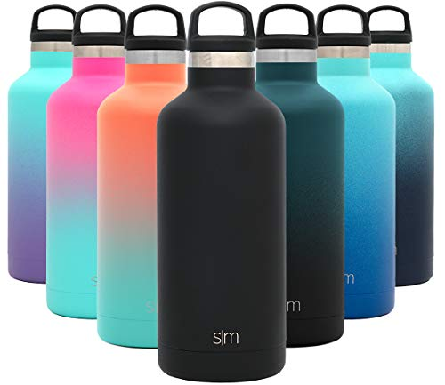 Simple Modern 32oz Ascent Water Bottle - Hydro Vacuum Insulated Tumbler Flask w/Handle Lid - Black Double Wall Stainless Steel Reusable - Leakproof: - Midnight Black