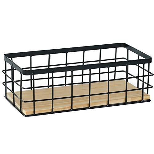 DUMGRN Cesta de almacenamiento montada en la pared con base de madera, bandeja organizadora para colgar arte de hierro, caja de almacenamiento multiusos para macetas, libros, etc.