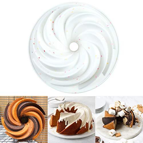 Stouge Silicone Nonstick Bundt Cake Pan,Cake Baking Mold Fulted Gelatin Cake Molds Baking Trays for Jello,Cake,Gelatin,Bread, 9-Inch