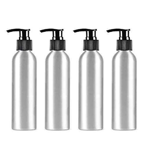 bubussv (4 Stück) 250ml Leer Silber Reisen Pumpflaschen Lotionsflaschen Tragbare Augencreme Lotion Essenz Flasche Drücken Nachfüllbare Reisebehälter