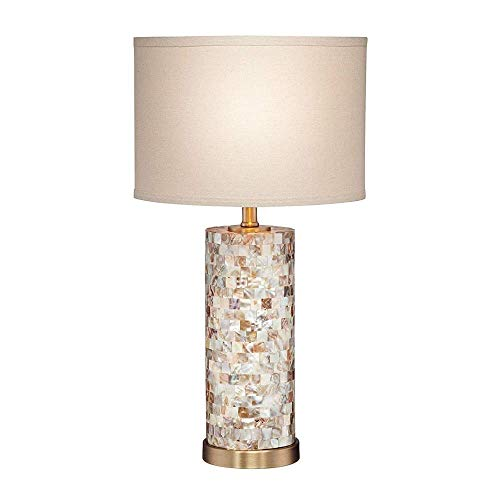 Table Lamp, Parelmoer Tile Cylinder Crème linnen Drum, European Style, White Oval Zonnescherm for Living Room Family Slaapkamer Nachtlampjes