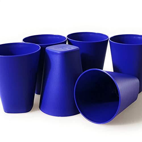 Berossi Trinkbecher Set Camping Plastik Becher Kunststoff PBA Free | Mehrweg Kunststoffbecher extra stabil | Party Geburtstag Picknickbecher | für heiß & kalt und Mikrowelle geeignet 6 St. Azur