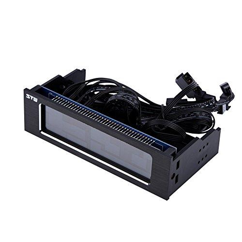 Richer-R STW Controlador de Ventilador de Refrigeración, PC Fan Controller, 4-Fans Velocidad Sensor de Temperatura de CPU,con Panel LCD Frontal