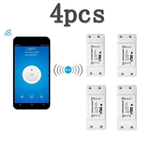 KOBWA Smart Switch - Mando a Distancia inalámbrico con WiFi multifunción para el hogar, Compatible con Alexa Echo Geogle Home Via iPhone Android App (4 Pack)