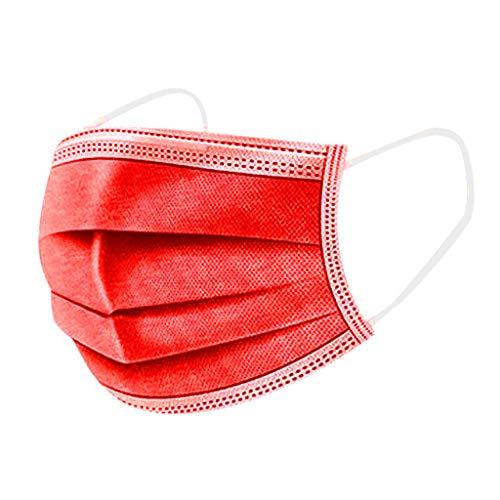 50 Stück Mundschutz_Masken Erwachsene Verstellbarer Hängendes Ohr Staubschutz, Einweg Hygienemaske Atmungsaktive Face Halstuch 3 lagig gegen Verschmutzungen Staub Face Mouth (Rot)