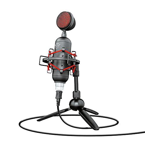 Microfone Streaming GXT 244 Buzz USB com tripé para fluxos no YouTube, Twitch e Facebook - 1.8 metros - PC e Laptop - 23466 Trust, Preto