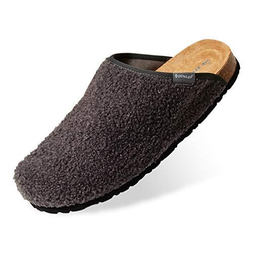 Dunlop Zapatillas Casa Hombre, Pantuflas Hombre De Forro Suave, Zapatillas Hombre con Suela Antideslizante Interior Exterior, Regalos para Hombres y Chicos Adolescentes (Gris Oscuro, Numeric_44)