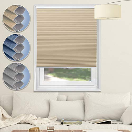 Blackout Cellular Shades Cordless Window Blinds and Shades Pull Up Honeycomb Shades for Home, Beige, 48x64