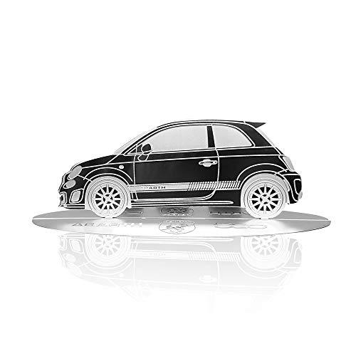 4R Quattroerre.it 11203 Modellauto Silhouette graviert Fiat 500 Abarth aus Edelstahl