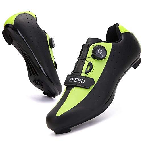 ququer Zapatillas de Bicicleta con Tacos compatibles con SPD Look Delta Cycle Riding, Zapatos MTB con Tacos compatibles para Hombres Hombres