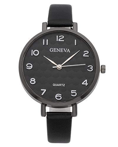 JSDDE Uhren Einfache Armbanduhr Damenuhr XS Slim PU Lederband Businessuhr Wabenförmig Dial Unisex Analoge Quarzuhr Kleideruhr für Frauen (Schwarz-Schwarz Dial)